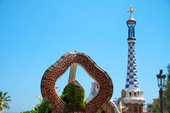 Park Guell in the upper part of Barcelona, created by Antonio Gaudi. BARCELONA, SPAIN -MAY 18, 2018: Park Guell in the upper part of Barcelona, created by royalty free stock image