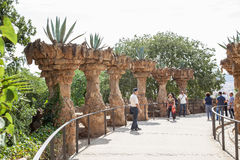 Park Guell viaducts in Barcelona, Spain Stock Image