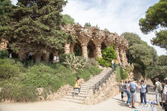 Park Guell viaducts in Barcelona, Spain Royalty Free Stock Images