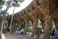 Park Guell viaducts in Barcelona, Spain Royalty Free Stock Photo