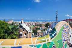 Park Guell, view on Barcelona Royalty Free Stock Images
