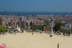 Park Guell and view of Barcelona stock photo