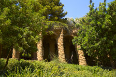 Park Guell. Walking paths, Gaudi built of local stone Royalty Free Stock Photo