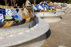 Park Guell - wavy bench royalty free stock photo
