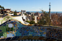 Park Guell in winter. Barcelona Stock Image