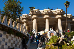 Park Guell in winter. Barcelona Stock Images