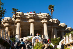 Park Guell in winter. Barcelona Royalty Free Stock Image