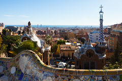 Park Guell in winter. Barcelona Royalty Free Stock Photography