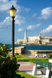 Park in Havana with  El Morro in the background Stock Image