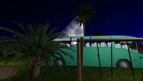 Park in the heart of Jeddah with with grass and palm trees at night. Time stock video footage