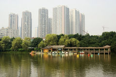 Park with high rise buildings Stock Image