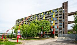 Park Hill Flats Sheffield. Park Hill flats & apartments taken in Sheffield, Yorkshire, UK on 18 May 2018 royalty free stock photography