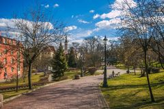 Park in the historic center of Wieliczka village in Poland royalty free stock photos