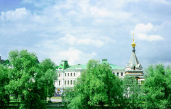 Park, historical buildings and chapel in Omsk Royalty Free Stock Photography
