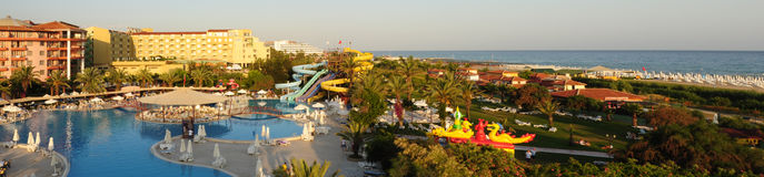 Park hotel next the sea. Luxurious park hotel next the sea with entertaiment park in Turkey Stock Images