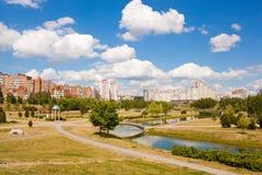Park i rzeka w Minsk, Białoruś Obrazy Royalty Free
