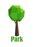 Park icon with polygonal green tree. Park icon with a green tree composed of polygonal geometric pattern and shape for the foliage and trunk over the text Park Royalty Free Stock Photos