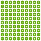100 park icons hexagon green. 100 park icons set in green hexagon isolated vector illustration Royalty Free Stock Photography