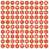 100 park icons hexagon orange. 100 park icons set in orange hexagon isolated vector illustration Stock Photos