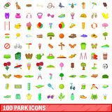 100 park icons set, cartoon style Stock Photo
