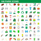 100 park icons set, cartoon style Royalty Free Stock Photography