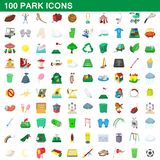100 park icons set, cartoon style. 100 park icons set in cartoon style for any design illustration stock illustration