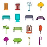 Park icons doodle set Royalty Free Stock Image