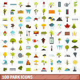 100 park icons set, flat style Stock Photo