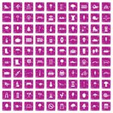 100 park icons set grunge pink. 100 park icons set in grunge style pink color isolated on white background vector illustration Royalty Free Stock Image