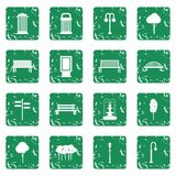 Park icons set grunge. Park icons in simple ctyle. Outdoor elements set in grunge style green isolated vector illustration Stock Photo