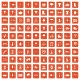 100 park icons set grunge orange. 100 park icons set in grunge style orange color isolated on white background vector illustration vector illustration