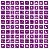 100 park icons set grunge purple. 100 park icons set in grunge style purple color isolated on white background vector illustration Stock Photo
