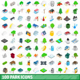 100 park icons set, isometric 3d style Stock Photo