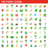 100 park icons set, isometric 3d style Royalty Free Stock Photos