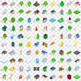 100 park icons set, isometric 3d style Royalty Free Stock Images