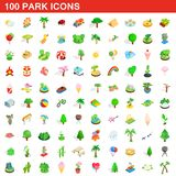 100 park icons set, isometric 3d style. 100 park icons set in isometric 3d style for any design illustration royalty free illustration
