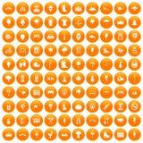 100 park icons set orange. 100 park icons set in orange circle isolated on white vector illustration Stock Photography