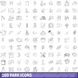100 park icons set, outline style Royalty Free Stock Images