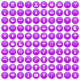 100 park icons set purple. 100 park icons set in purple circle isolated on white vector illustration Stock Image