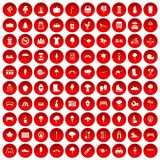 100 park icons set red. 100 park icons set in red circle isolated on white vector illustration Stock Illustration
