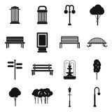 Park icons set, simple  Royalty Free Stock Photo