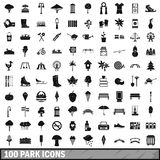 100 park icons set in simple style Royalty Free Stock Image