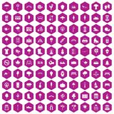 100 park icons hexagon violet. 100 park icons set in violet hexagon isolated vector illustration Stock Illustration