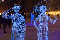 The park of illuminated sculptures They Were Here Royalty Free Stock Images