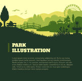 Park illustration background, colored silhouettes elements, flat Royalty Free Stock Image