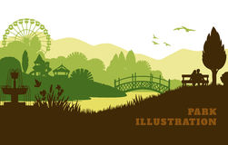 Park illustration background, colored silhouettes elements, flat Stock Photos