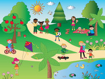 In the park. Illustration of happy people in the park Royalty Free Stock Photo