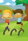 In the park. Illustration of kids in the park Stock Images