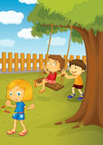 In the park. Illustration of kids playing in the park Stock Photography