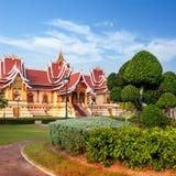Park im Freien mit buddhistischer Gesellschaft Hall Vientiane, Laos, Lizenzfreie Stockfotos